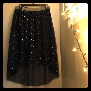xhilaration gold polka dot party skirt